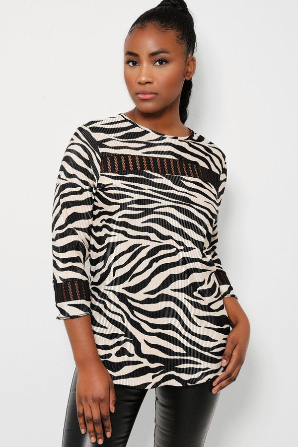 Beige Black Zebra Print Crochet Panels Pleated Top - SinglePrice
