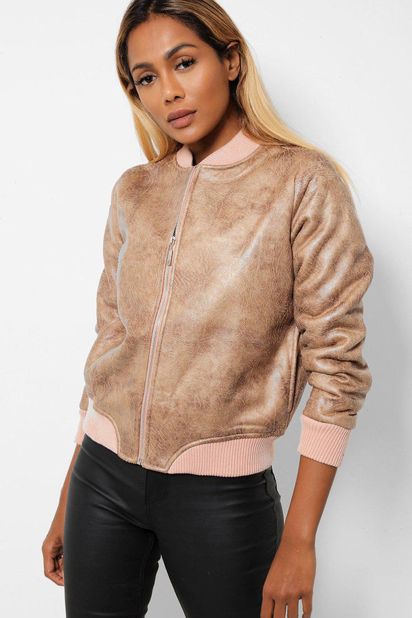 Camel Vegan Aged Leather Pink Teddy Lining Bomber