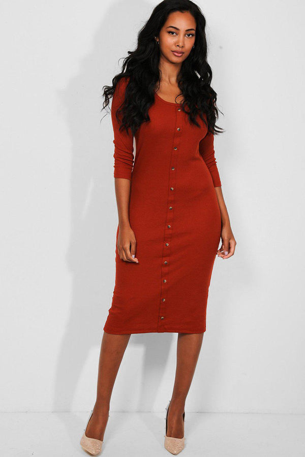 Rust Button Details Ribbed Midi Dress-SinglePrice