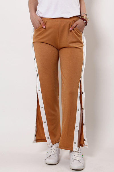 Sports White Stripe Side Button Up Beige Trousers-SinglePrice