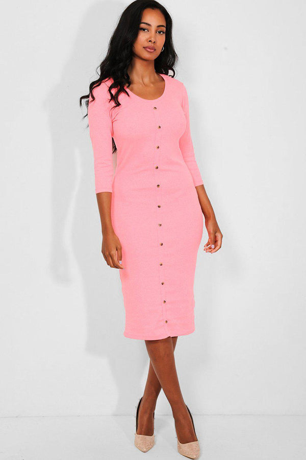 Barbie Pink Button Details Ribbed Midi Dress-SinglePrice