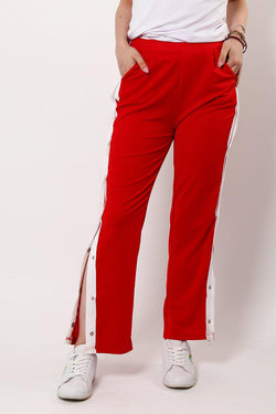 Sports White Stripe Side Button Up Red Trousers-SinglePrice
