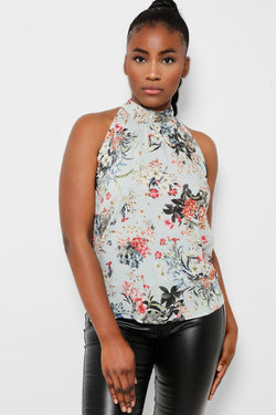 Light Blue Halterneck Back Tie Up Floral Top - SinglePrice
