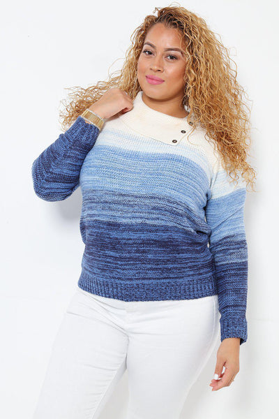 Buttons Details Neck White Blue Ombre Sweater-SinglePrice
