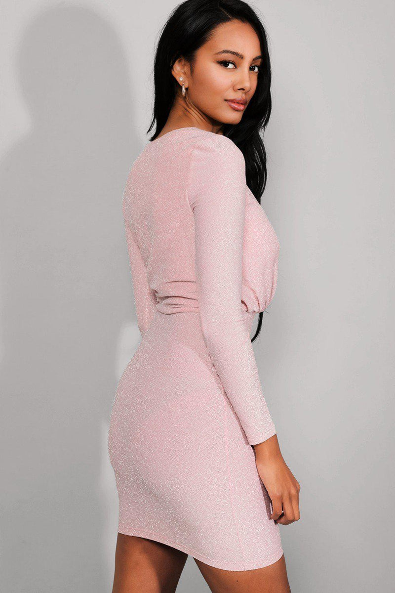 Pink Shimmer Wrap Neck Mini Bodycon Dress - SinglePrice