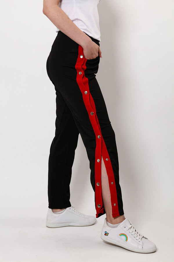 Sports Red Stripe Side Button Up Black Trousers-SinglePrice