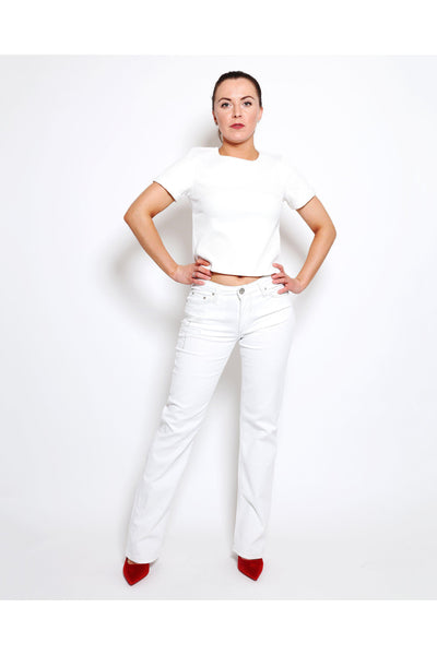 White Crystals Embellished Back Pockets Jeans-SinglePrice
