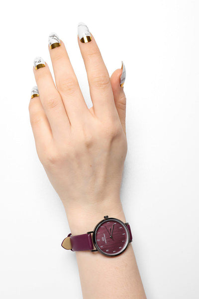Textured Purple Dial Purple Faux Leather Strap Watch