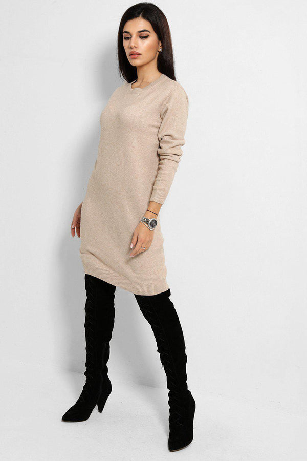 All Beige Flat Soft Touch Knit Jumper Dress - SinglePrice