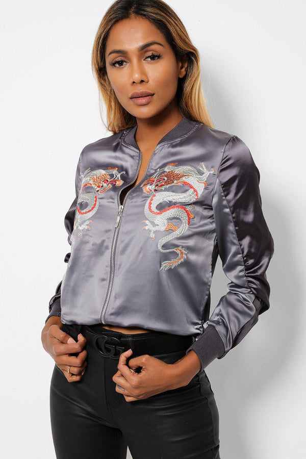 Oriental Dragon Embroidered Satin Grey Bomber Jacket-SinglePrice