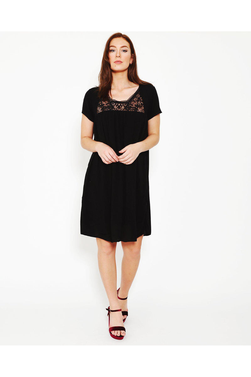 Crochet Detail Black Summer Dress-SinglePrice