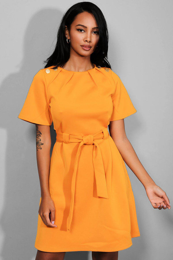 Mustard Waist Tie Button Details Mini Dress