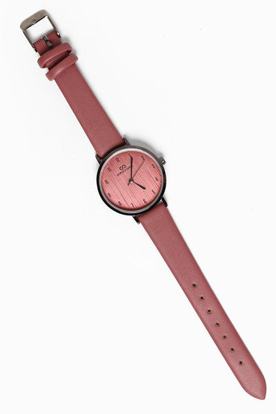 Textured Dark Pink Dial Dark Pink Faux Leather Strap Watch