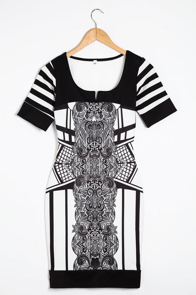 Black And White Baroque Print Bodycon Dress-SinglePrice