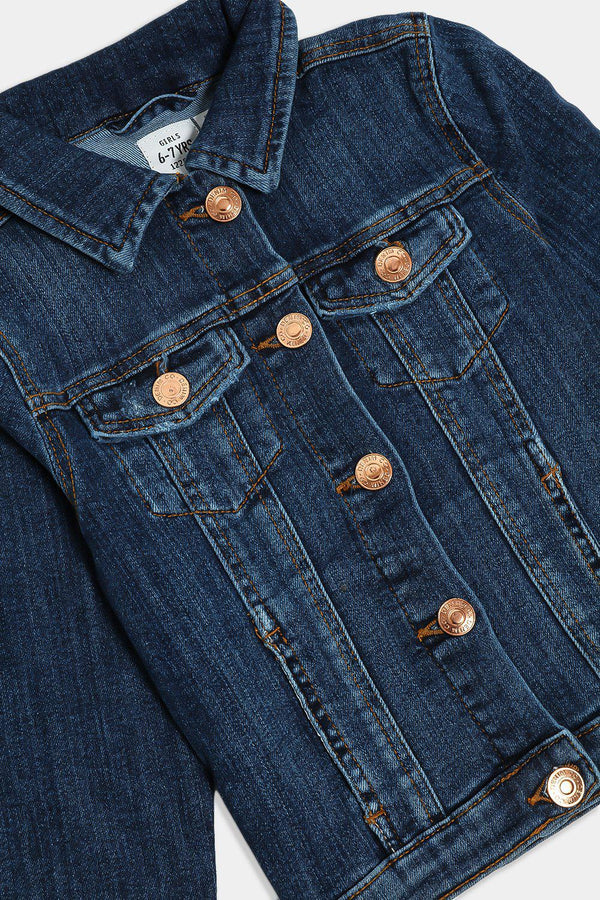Dark Blue Bronze Buttons Kids Denim Jacket - SinglePrice
