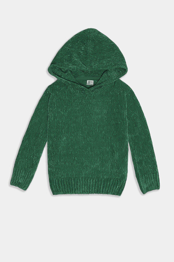 Green Hooded Velvet Knit Kids Pullover - SinglePrice