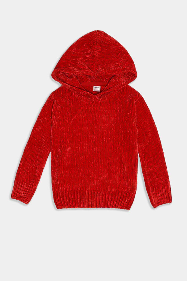 Red Hooded Velvet Knit Kids Pullover - SinglePrice