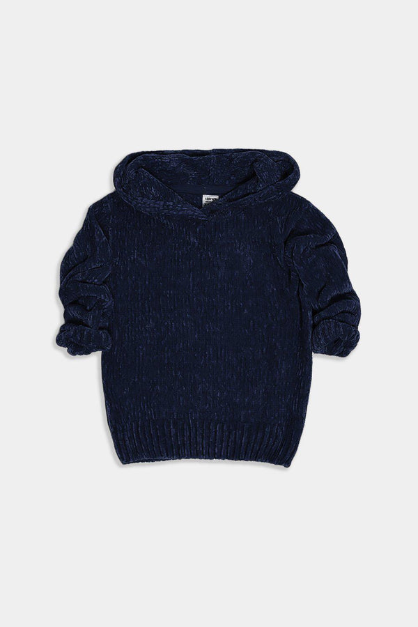 Navy Hooded Velvet Knit Kids Pullover - SinglePrice