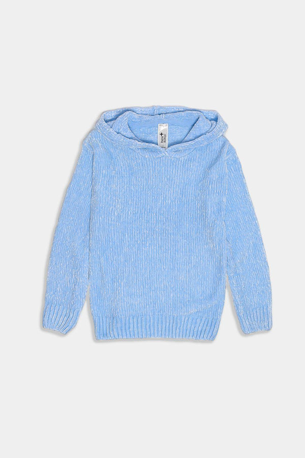 Sky Blue Hooded Velvet Knit Kids Pullover - SinglePrice