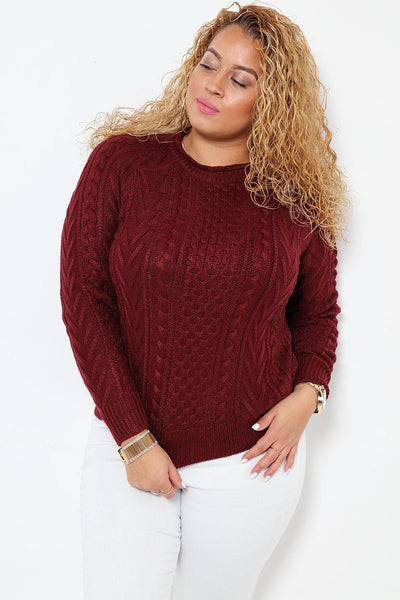 Classic Cable Knit Maroon Jumper-SinglePrice