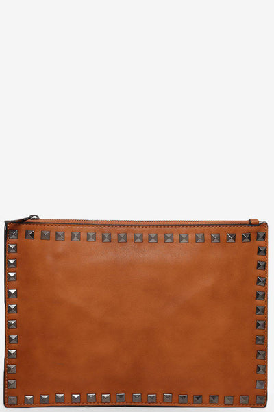 Studded Trim Brown Skinny Clutch-SinglePrice