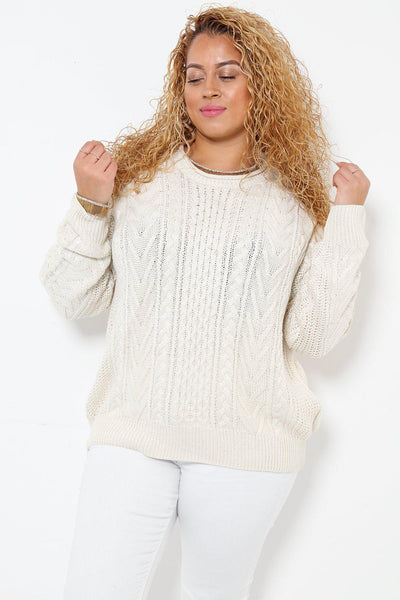 Classic Cable Knit White Jumper-SinglePrice