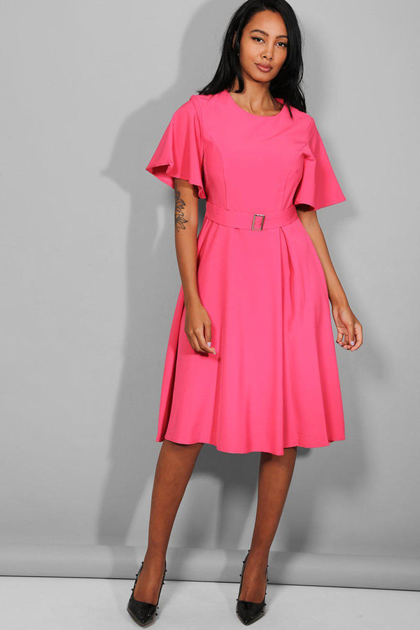 Hot Pink Belt Detail Midi Dress - SinglePrice