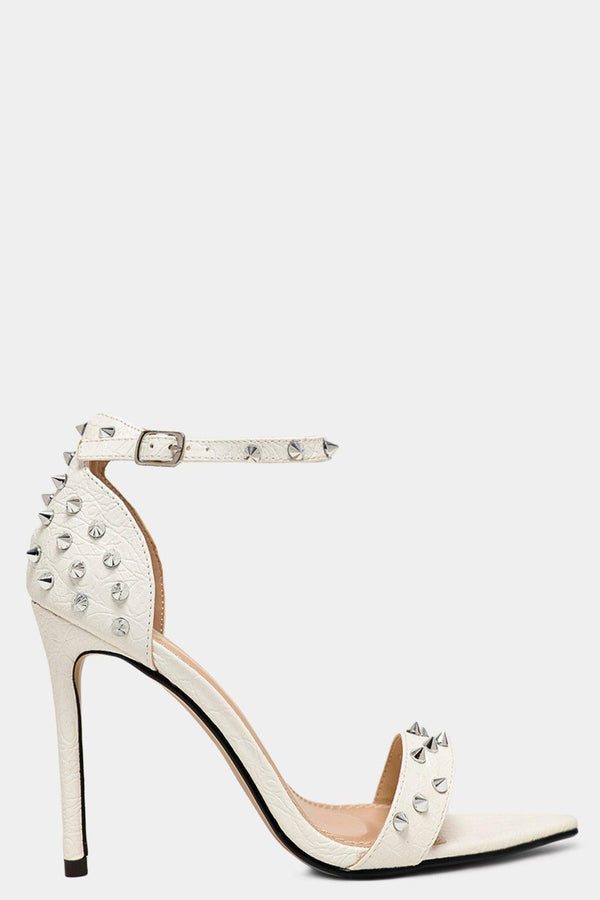 White Spike Studs Embellished Pointy High Heels - SinglePrice