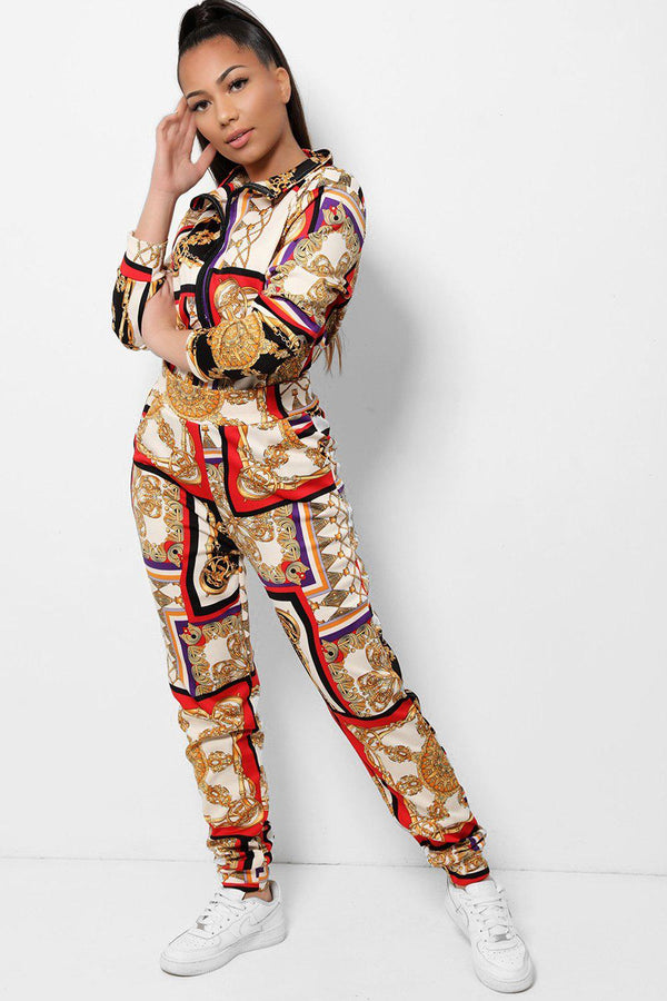 Red Baroque Print High Neck 2 Piece Tracksuit - SinglePrice