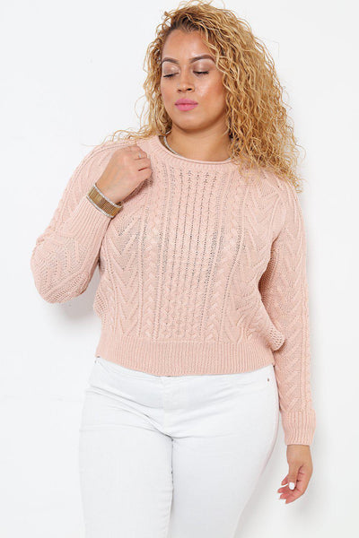 Classic Cable Knit Pink Jumper-SinglePrice