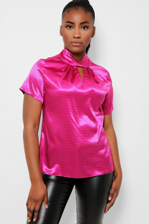 Hot Pink Satin Twist Neck Detail Top - SinglePrice