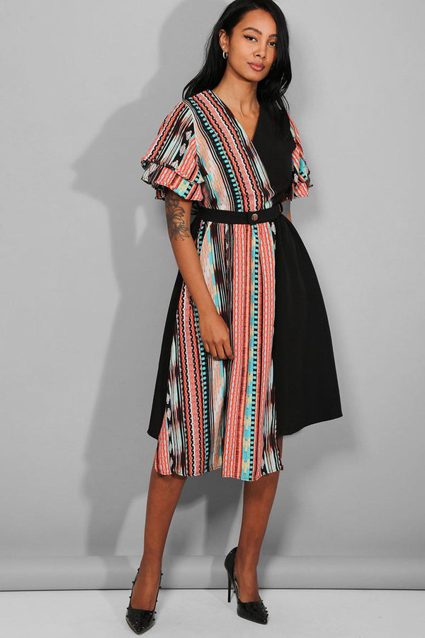 Multicolour Two Tones Asymmetric Wrap Mid Dress - SinglePrice