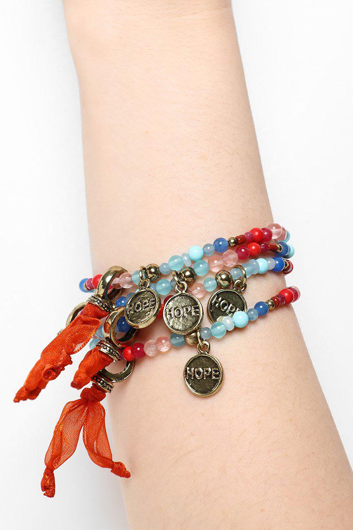 Pack Of 6 Orange Beads Bracelets And Hope Charms - SinglePrice