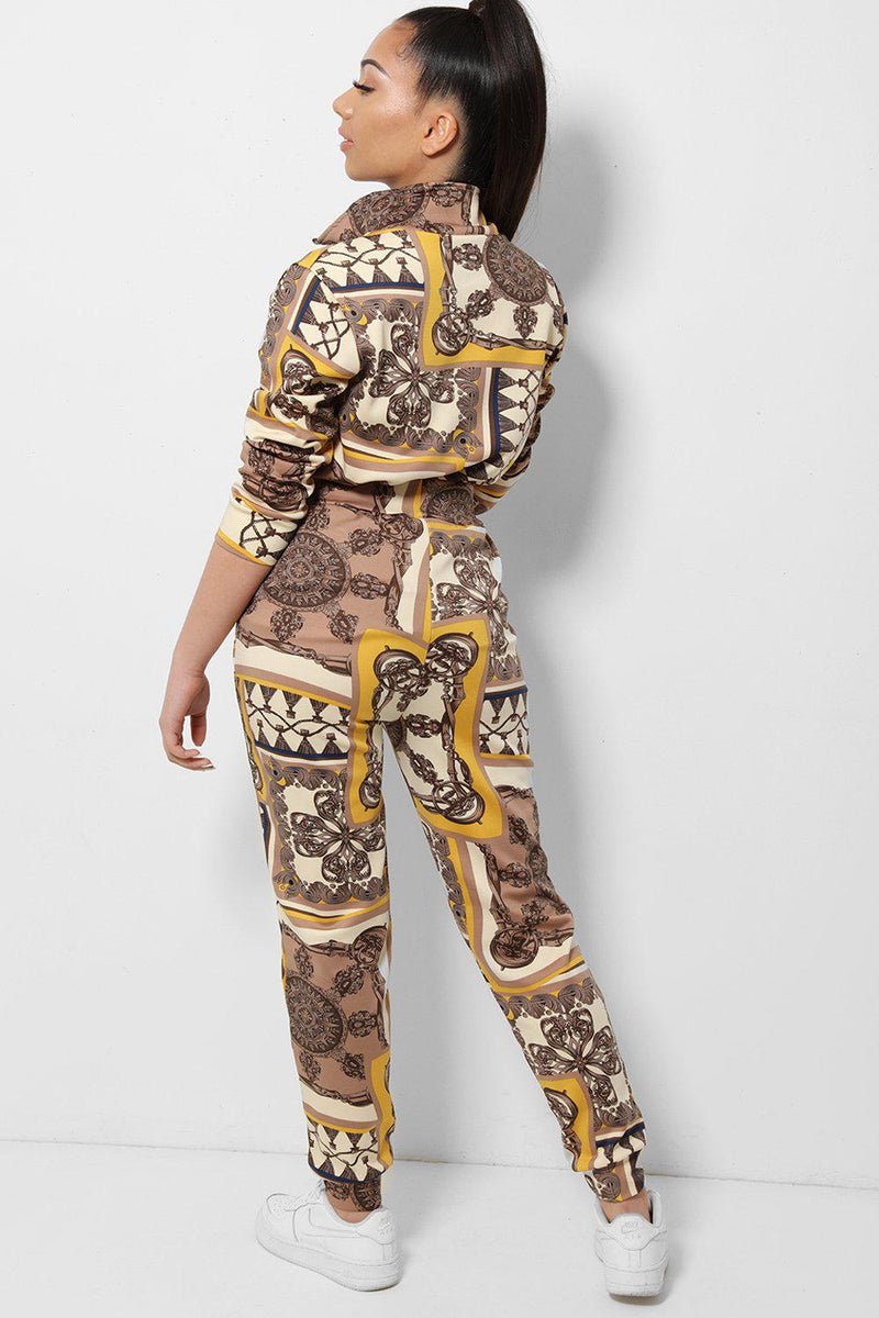 Yellow Baroque Print High Neck 2 Piece Tracksuit - SinglePrice