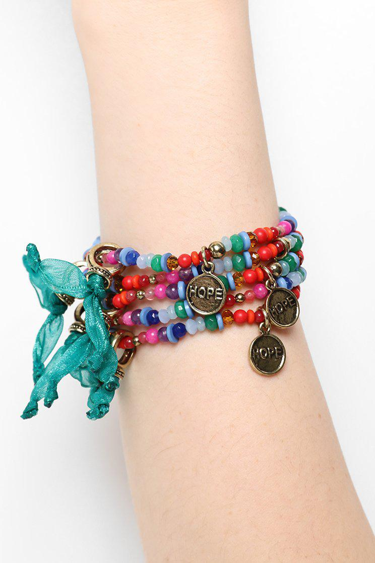 Pack Of 6 Multicolour Beads Bracelets And Hope Charms - SinglePrice