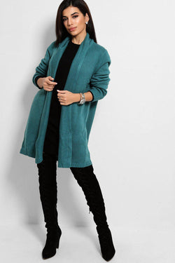 Teal Chunky Knit Open Front Midi Cardigan - SinglePrice