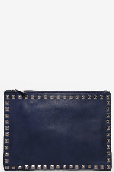 Studded Trim Navy Skinny Clutch-SinglePrice