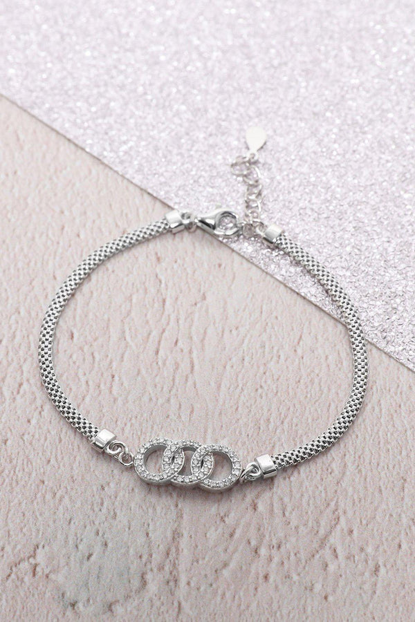 Silver 925 CZ Encrusted 3 Interconnected Circles Bracelet - SinglePrice