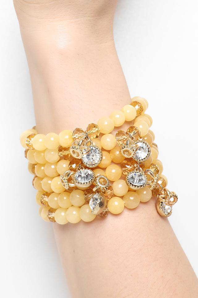 Pack Of 6 Yellow Beads And Gold Crystal Charms Bracelets - SinglePrice