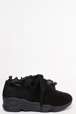 Beaded Trim Suedette Black Trainers-SinglePrice