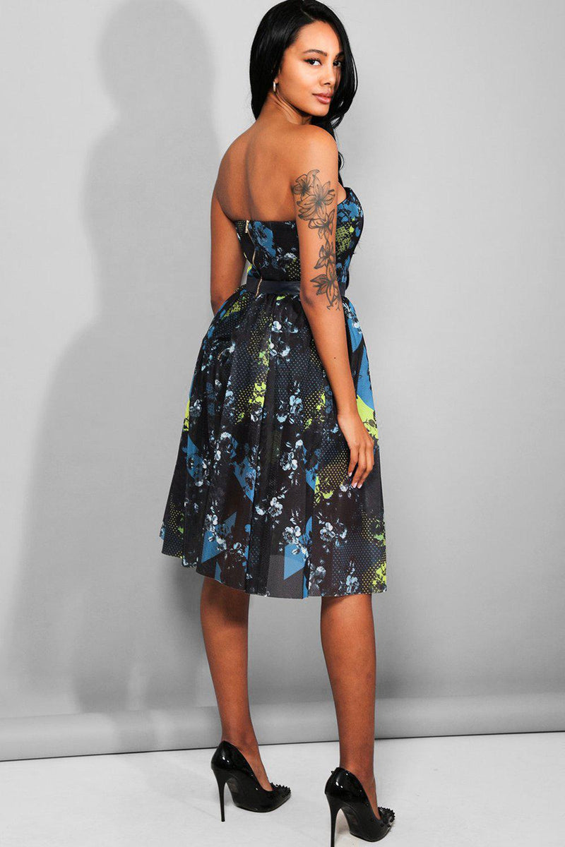 Multicolour Abstract Print Mesh Midi Bandeau Prom Dress - SinglePrice