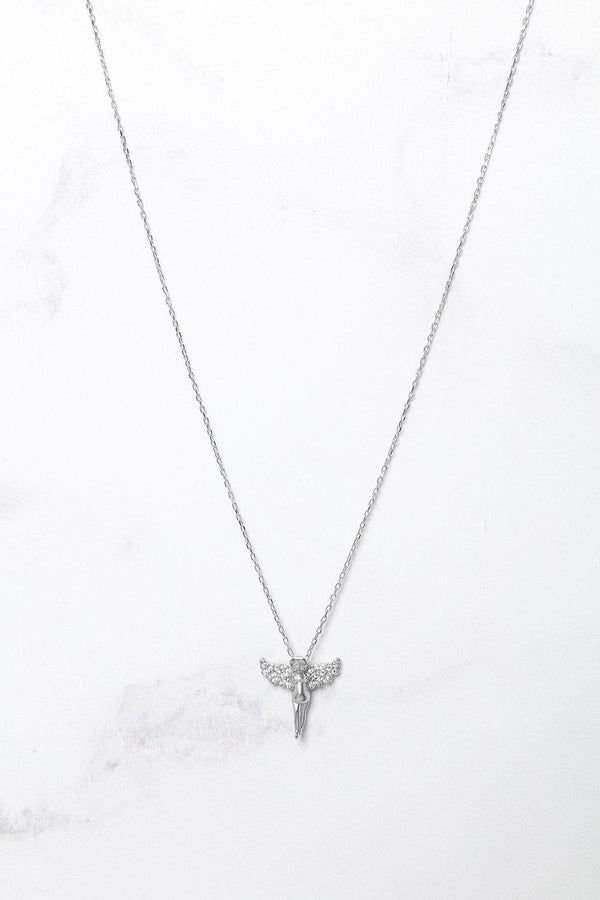 Silver 925 CZ Encrusted Angel Necklace - SinglePrice