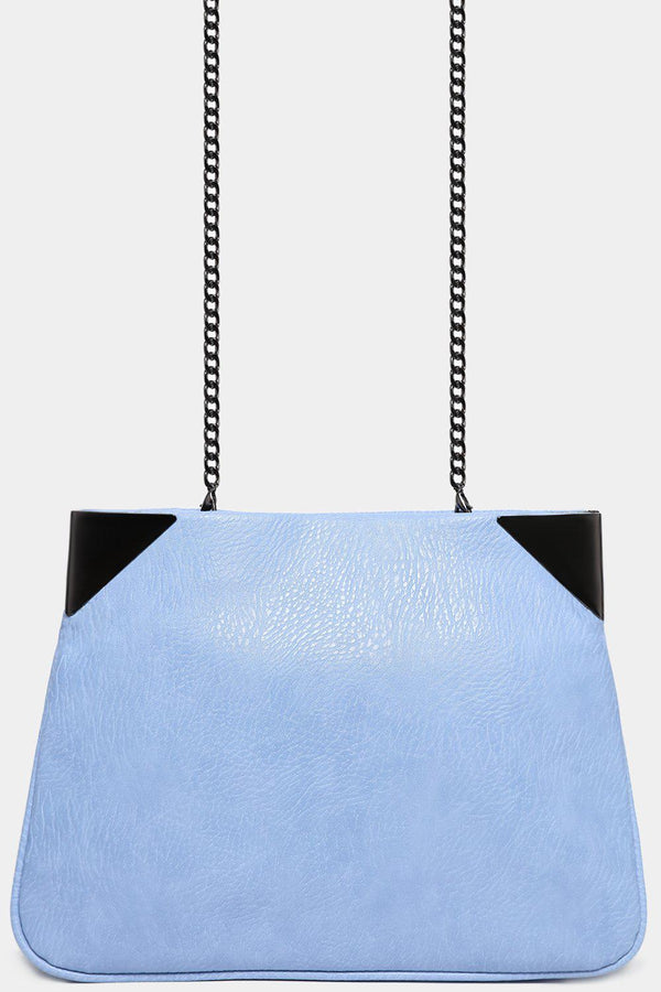 Blue Aged Vegan Leather Pouch With Shoulder Chain - SinglePrice