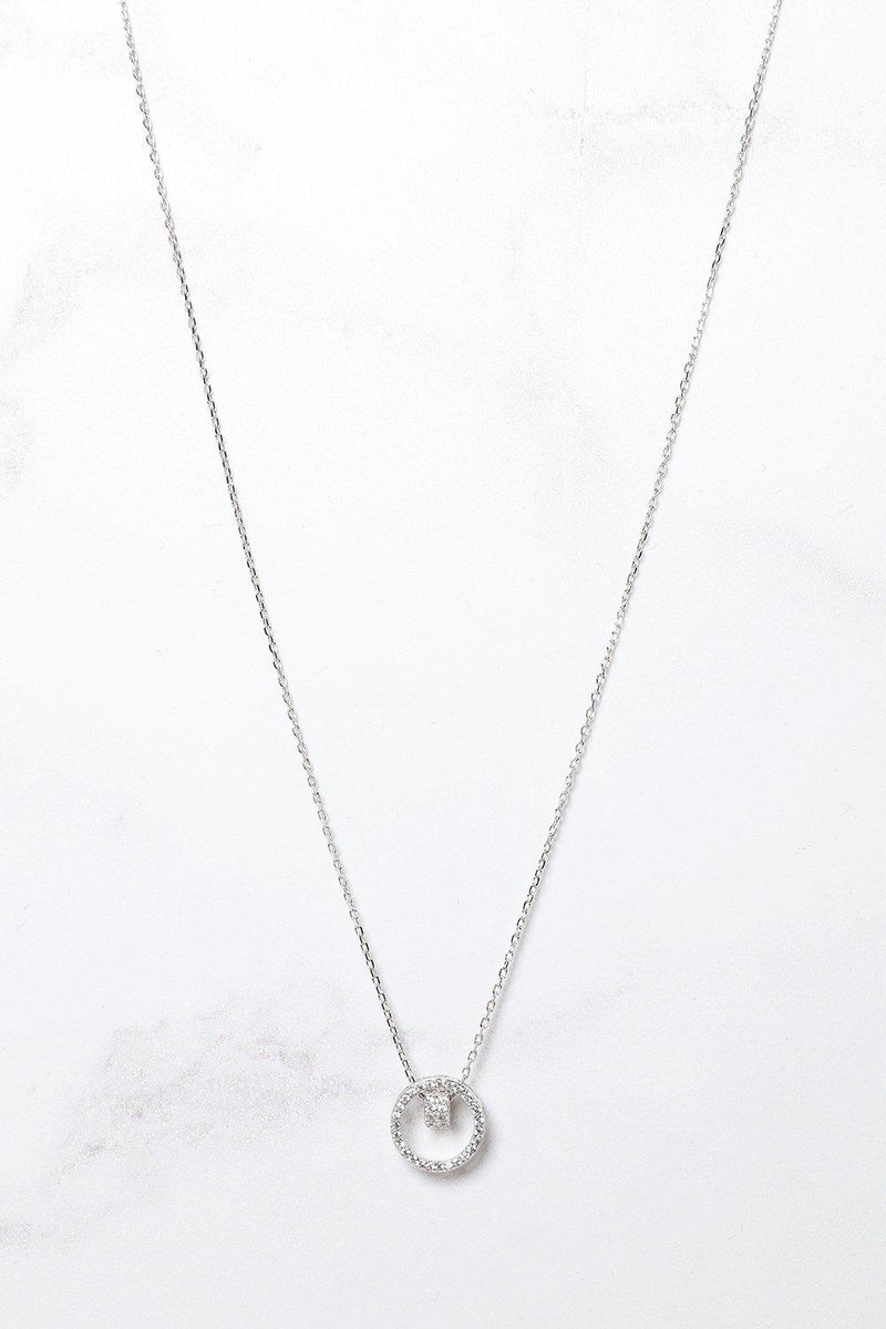 Silver 925 Blue CZ Encrusted Double Circles Necklace - SinglePrice