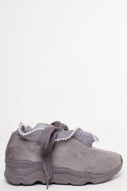 Beaded Trim Suedette Grey Trainers-SinglePrice