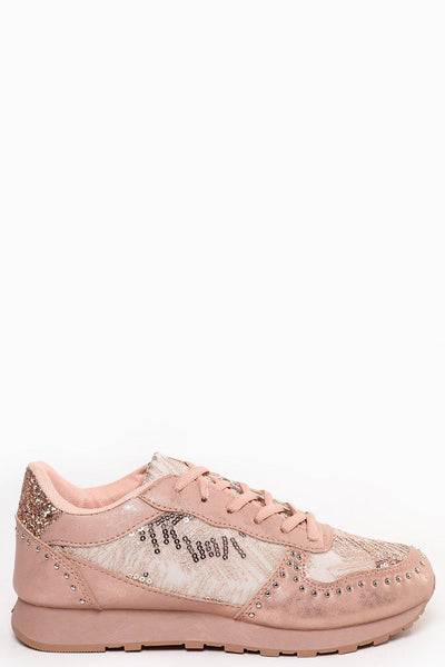 Sequinned Studded Pink Champagne Trainers-SinglePrice