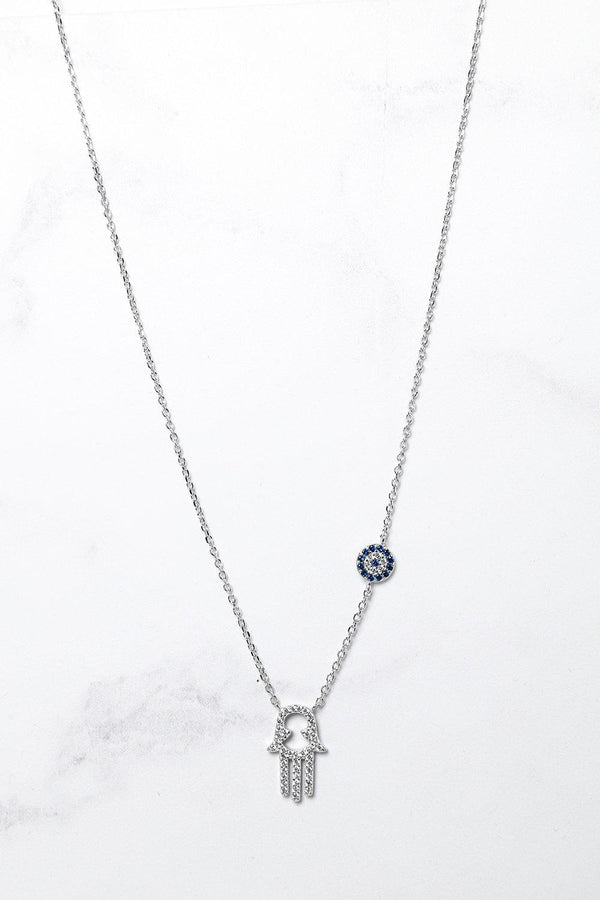 Silver 925 Blue CZ Encrusted Hamsa Hand Necklace - SinglePrice