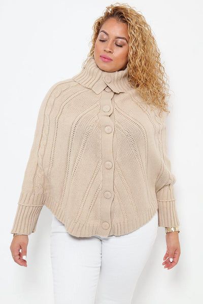 High Neck Beige Poncho Cardie-SinglePrice