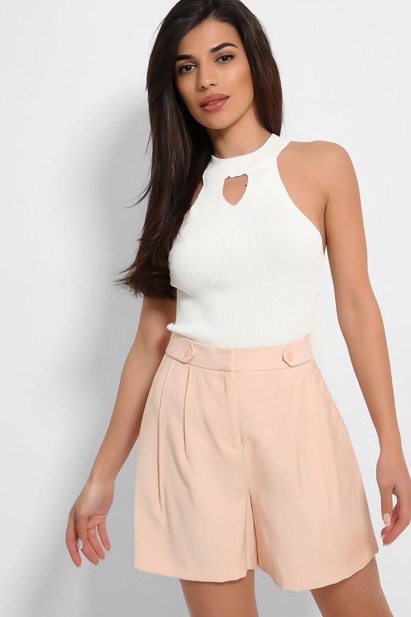 Pink Button Details Flare Shorts - SinglePrice