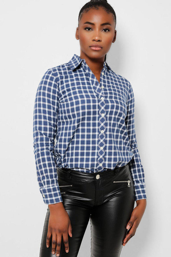 Navy White Check Soft Touch Shirt - SinglePrice